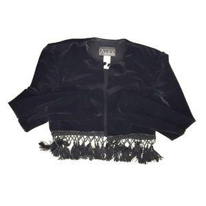Alex Evenings Jackets & Coats - Alex Evenings black velvet tassel bolero Small